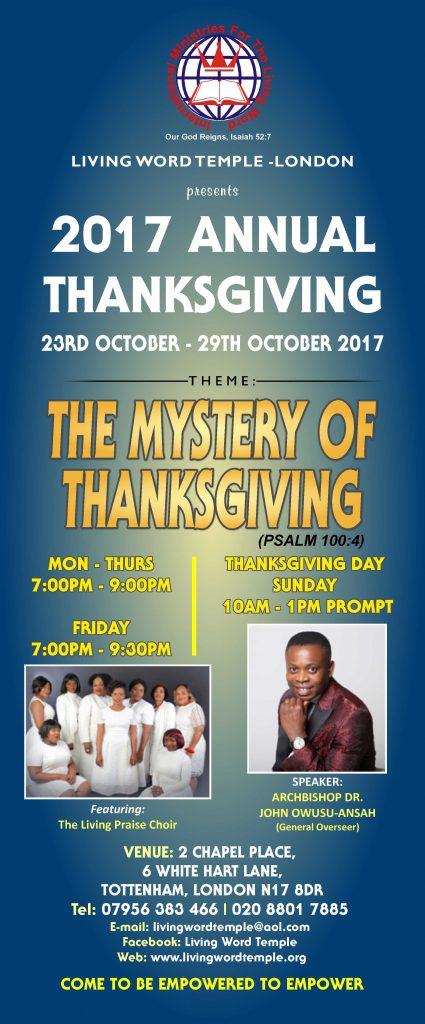 2017 Annual Thanksgiving @ 2 Chapel Place, 6 White Hart Lane, Tottenham